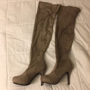 Grey suede thigh thigh boots